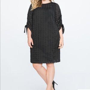 NWT ELOQUII Black Textured Windowpane Dress